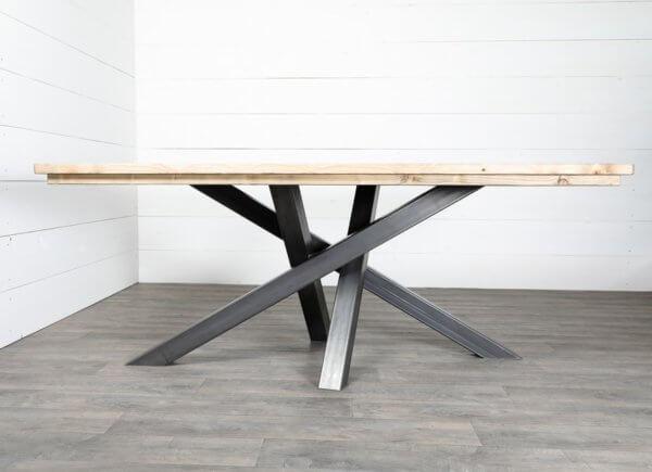 pieds de table croises acier brut