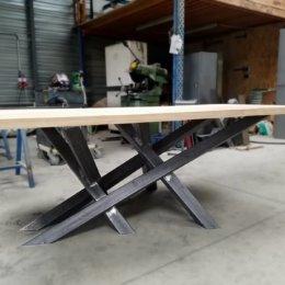 table de repas acier bois